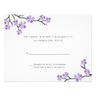 Purple Cherry Blossom reply cards Invitations