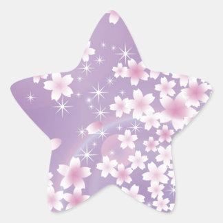 Purple Cherry Blossom Star Sticker