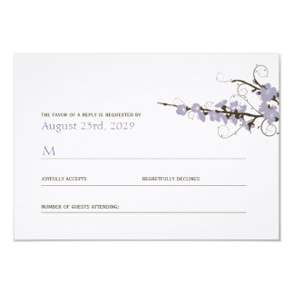 Purple Cherry Blossoms Sakura Swirls Wedding RSVP Card