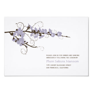 Purple Cherry Blossoms Sakura Wedding Reception Card
