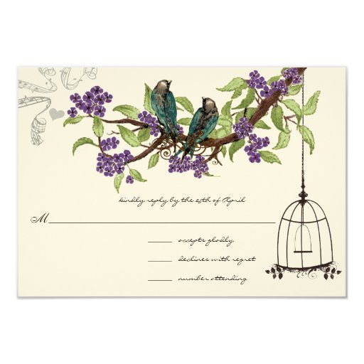 Purple Cherry Blossoms Teal Birds Birdcage RSVP 3.5x5 Paper Invitation Card
