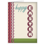 Purple Chevron and Beige Personalized Easter Card