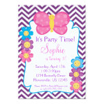 Purple Chevron and Pink Butterfly Birthday Party 5x7 Paper Invitation Card