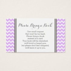 Purple Chevron Baby Shower Book Request Card at Zazzle