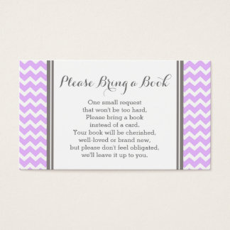 Purple Chevron Baby Shower Book Request Card