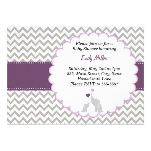 Purple Chevron Baby Shower Flat Card Invitation