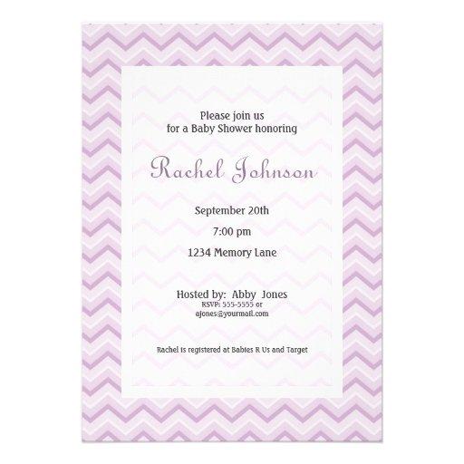 purple chevron baby shower invitation 5 x 7 invitation card zazzle