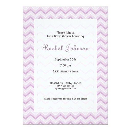 purple chevron baby shower invitation zazzle
