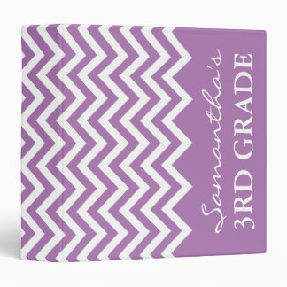 Purple chevron binder for 3rd grade school teacher