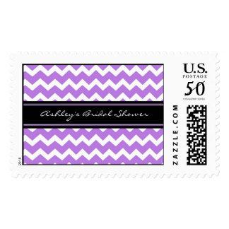 Purple Chevron Bridal Shower Wedding Stamps