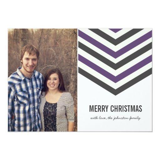 Purple Chevron Christmas Photo Flat Cards