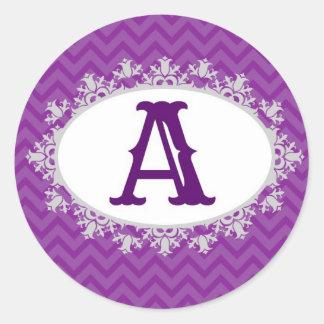 Purple Chevron Classic Round Sticker