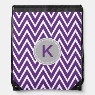 Purple Chevron Custom Monogram Cinch Bag