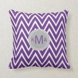 Purple Chevron Custom Monogram Pillow