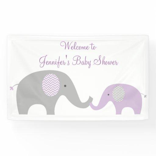 Purple Chevron Elephant Baby Shower Banner