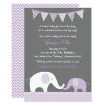 Purple Chevron Elephant Baby Shower Card