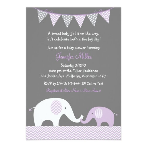 Purple Chevron Elephant Baby Shower Invitations