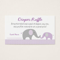 Purple Chevron Elephant Diaper Raffle Tickets