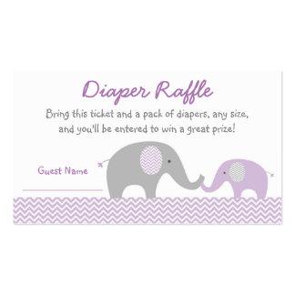 Purple Chevron Elephant Diaper Raffle Tickets Business Card