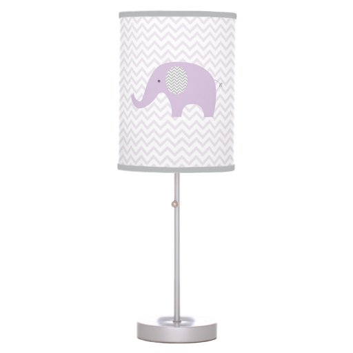 Purple Chevron Elephant Nursery Lamp