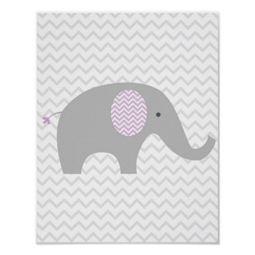 Purple Chevron Elephant Nursery Wall Art Print