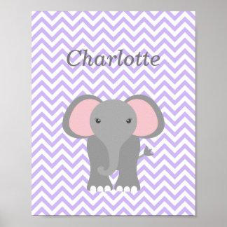 Purple Chevron Elephant Personalized Nursery Decor Poster