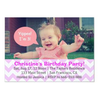 Purple Chevron Girl Birthday, Third Birthday Card