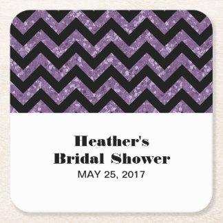 Purple Chevron Glitter Bridal Shower Coasters Square Paper Coaster
