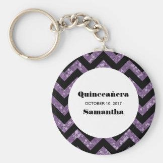 Purple Chevron Glitter Quinceañera Keychain