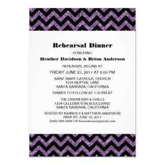 Purple Chevron Glitter Rehearsal Dinner Invite