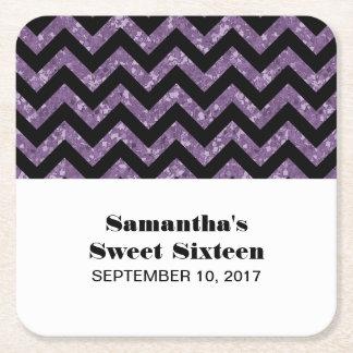 Purple Chevron Glitter Sweet 16 Paper Coasters Square Paper Coaster