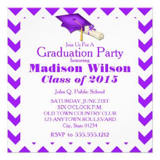 Purple Chevron Graduation Invitations