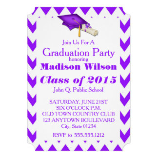 Purple Chevron Graduation Party Invitations