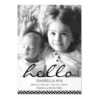 Purple Chevron Hello Photo Birth Announcement