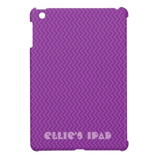 Purple chevron I pad with customizeable name iPad Mini Covers