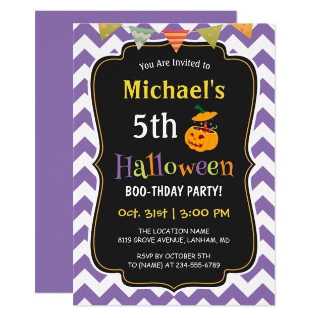 Chevron Kids Halloween Birthday Party Invitation