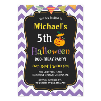 Purple Chevron Kid's Halloween Birthday Party Card