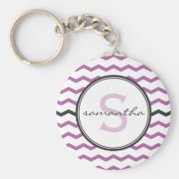 Purple Chevron Monogram Keychain