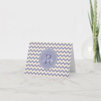 Purple Chevron Monogram Note Cards