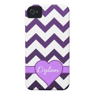 Purple Chevron Ombre Custom Name Heart iPhone 4 Cover