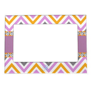 Purple Chevron Orange Diamond Zigzag Magnetic Picture Frame