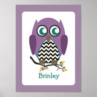 Purple Chevron Owl Nursery Artwork Poster