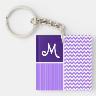 Purple Chevron Pattern Keychain