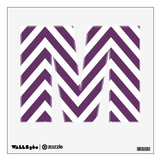 PURPLE CHEVRON PATTERN LETTER M WALL DECAL