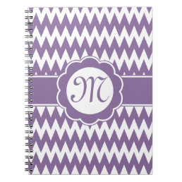 Purple Chevron Pattern & Monogram Flower Notebook