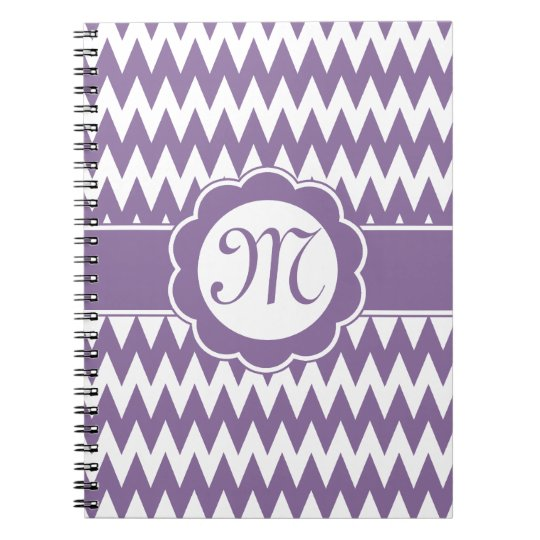 Purple Chevron Pattern & Monogram Flower Spiral Notebook