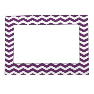 Purple Chevron Pattern Picture Frame Magnet