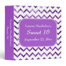 Purple Chevron Pattern Sweet 16 3 Ring Binder