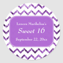 Purple Chevron Pattern Sweet 16 Classic Round Sticker