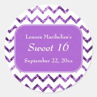 Purple Chevron Pattern Sweet 16 Classic Round Sticker